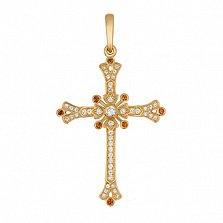 Крестик из желтого золота с цирконами Маргарита