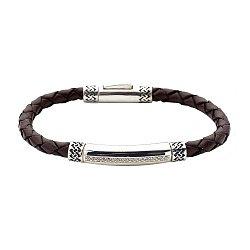 Черненый браслет из серебра и кожи с цирконием 000072547