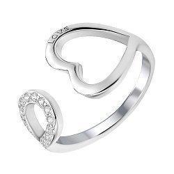 Серебряное кольцо с разомкнутой шинкой с фианитами 000112677
