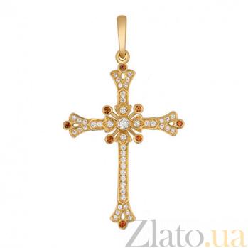 Крестик из желтого золота с цирконами Маргарита VLT--Т3441
