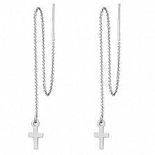 Серебряные серьги протяжки Крестики