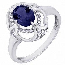 Серебряное кольцо Восточная сказка с гидротермальным сапфиром и цирконием
