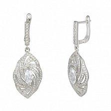Серебряные серьги-подвески с фианитами Афродита