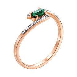 Кольцо из красного золота с изумрудом и бриллиантами 000137882