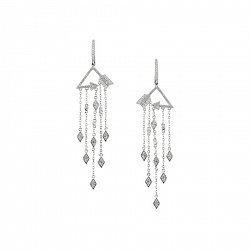 Серебряные серьги-подвески Кассандра с фианитами