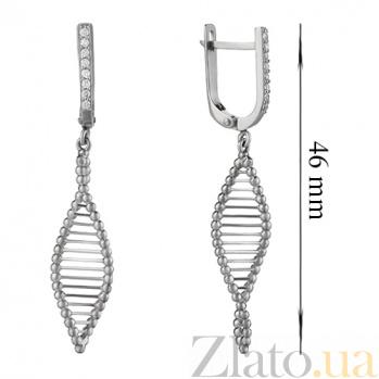 Серебряные серьги-подвески ДНК с дорожками фианитов 000012999