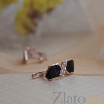 Золотые серьги Анаит с черной эмалью и цирконием TNG--420008Е