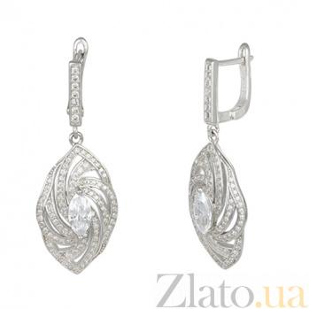 Серебряные серьги-подвески с фианитами Афродита 000029065