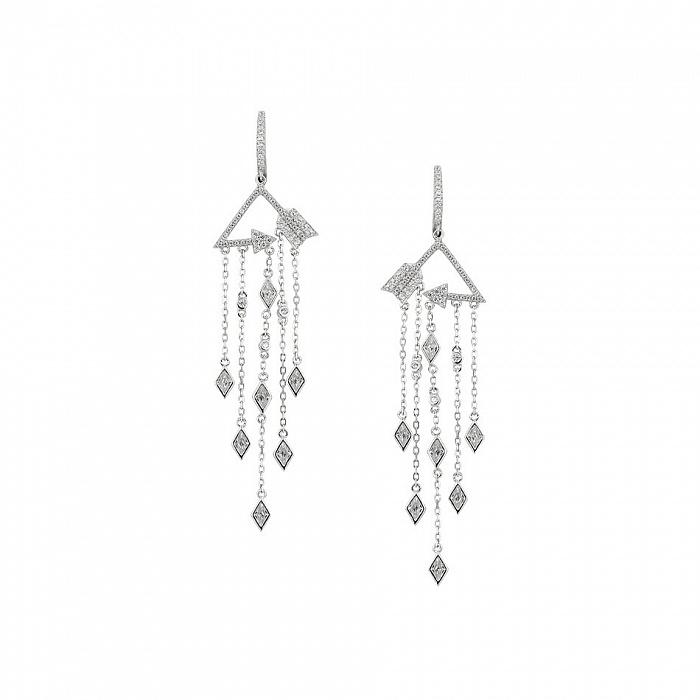 Серебряные серьги-подвески Кассандра с фианитами 000081798