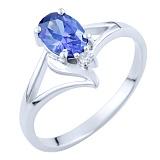 Серебряное кольцо Эльмира с синтезированным танзанитом