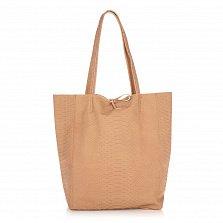 Кожаная сумка на каждый день Genuine Leather 8043 карамельного цвета на завязках