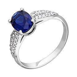 Серебряное кольцо Бриджит с гидротермальным сапфиром и фианитами