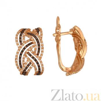 Серьги из красного золота с белым и коньячным цирконием Вивьен VLT--ТТТ2226-2