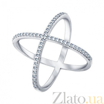 Кольцо в белом золоте Орбита с дорожками белого циркония 000080774