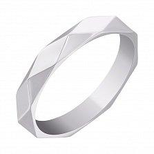 Обручальное кольцо Фасет в белом золоте с граненой шинкой в стиле Бушерон