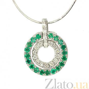 Серебряный подвес с изумрудами и бриллиантами Кальяри ZMX--PDE-6224-Ag_K