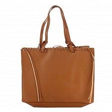 Кожаная сумка на каждый день Genuine Leather 8038 коньячного цвета с удлиненными ручками