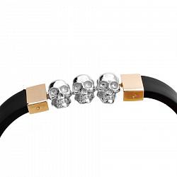 Каучуковый браслет Хьюго со вставками из комбинированного золота, черепами и фианитом в стиле Барака