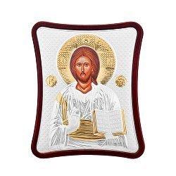 Икона Иисуса Христа Спасителя с серебром в деревянной рамке 000140345