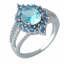 Серебряное кольцо с синтезированным аквамарином и фианитами 000128224