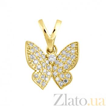 Подвес в желтом золоте Парящая бабочка с фианитами 000023011