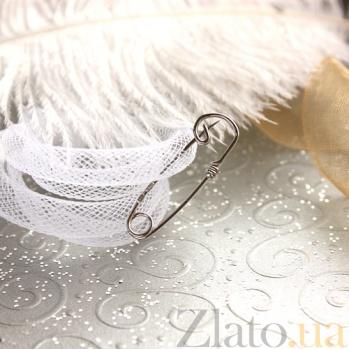 Серебряная булавка родированная Волна 000013405