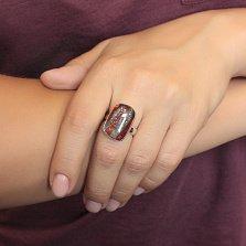 Серебряное кольцо Страйпс с имитацией опала