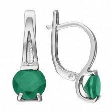 Серебряные серьги Шанти с зеленым агатом