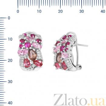 Серебряные серьги Эльза с разноцветными фианитами 000082044