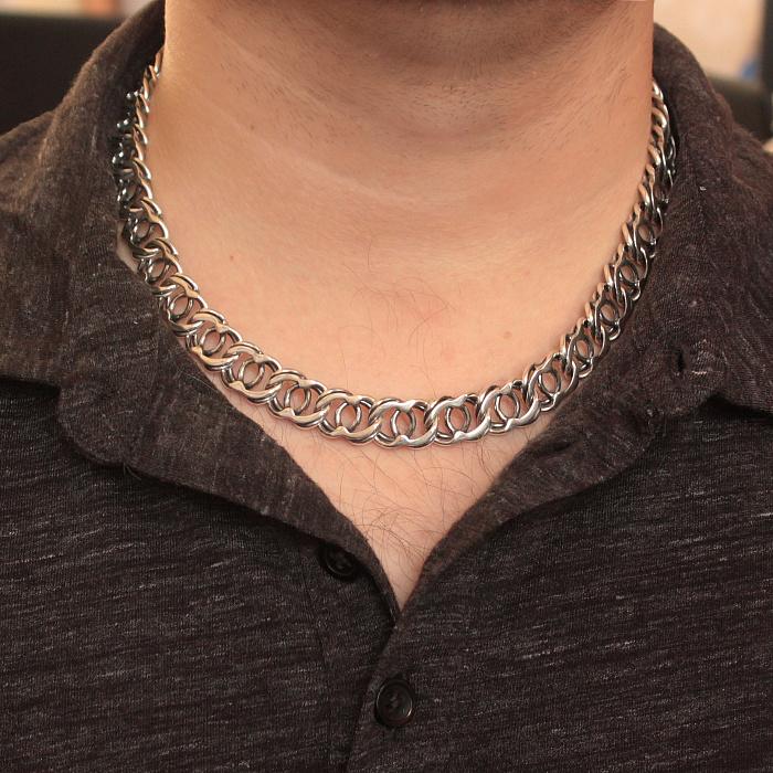 Серебряная черненая цепь Айвенго, 12мм 000078855