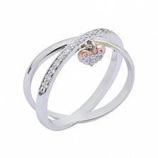 Кольцо в белом и красном золоте Признание в любви с фианитами