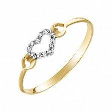 Золотое кольцо Драгоценная любовь в комбинированном цвете с бриллиантами, 17,5