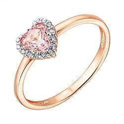 Золотое кольцо в комбинированном цвете с розовым и белыми кристаллами Swarovski 000137481