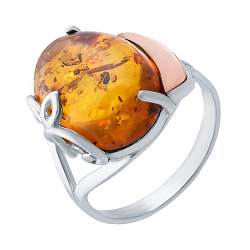 Серебряное кольцо с золотой накладкой и янтарем 000066675