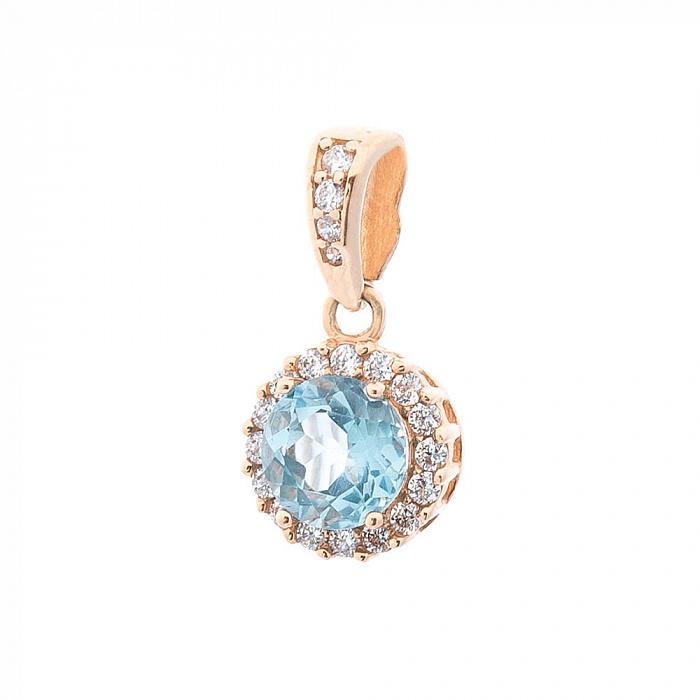 Золотая подвеска Аделаида с голубым топазом и белыми фианитами 000082485