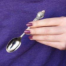 Серебряная чайная ложка Розочка с чернением