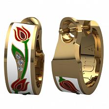 Золотые серьги Беззаботное счастье с бриллиантами и эмалью