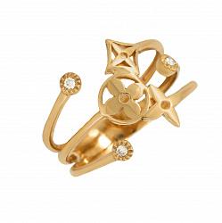 Золотое кольцо Цветник в евро цвете с бриллиантами в стиле Луи Виттон