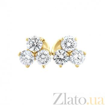 Золотые серьги с бриллиантами Трехлистник 000029677