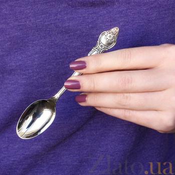 Серебряная чайная ложка Розочка с чернением 000057053