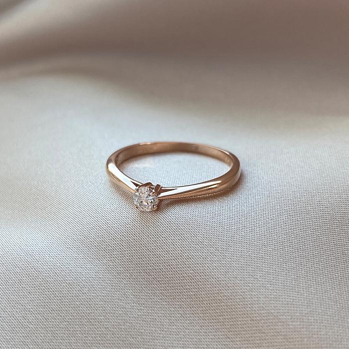 Золотое помолвочное кольцо Crazy Love в красном цвете с бриллиантом 0,25ct 000070530