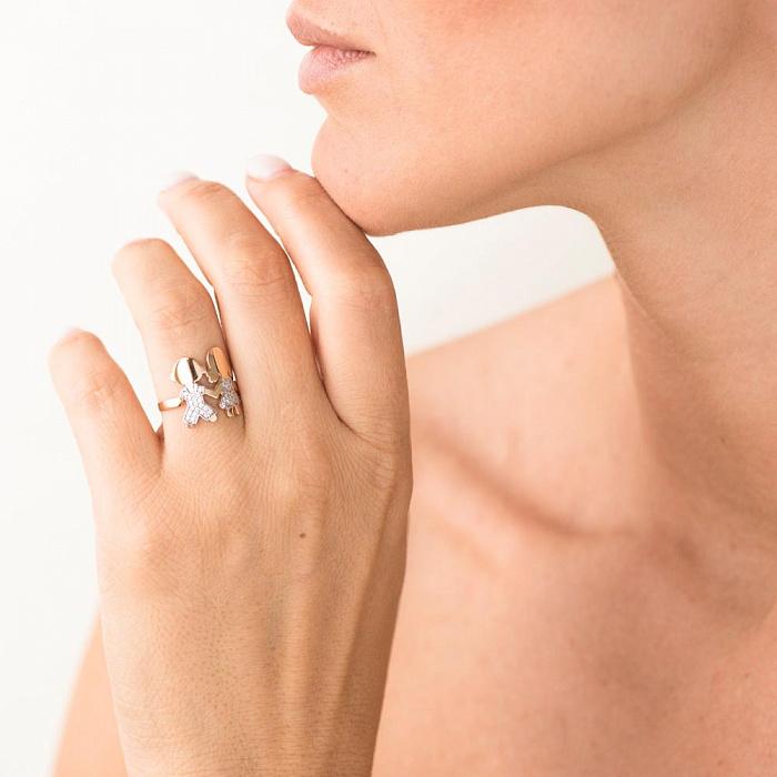 Золотое кольцо Дочка и Сын в красном цвете с белыми фианитами 000082419