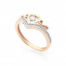 Золотое кольцо Королева сердца с фианитами