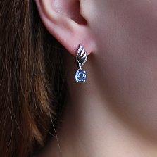 Серебряные серьги Унисон с голубым кварцем и фаинитами