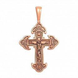 Православный крестик из красного золота с чернением 000133502