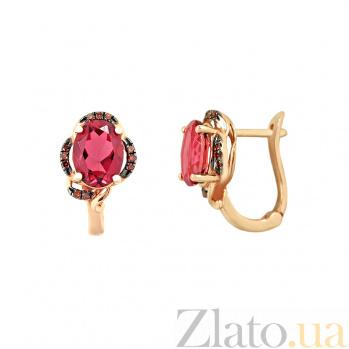 Золотые серьги с красными бриллиантами и турмалином Страсть 000026714
