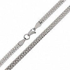 Серебряная цепочка Гарлингтон четверного венецианского плетения