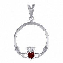 Серебряный кладдахский кулон Царство любви с синтезированным рубином