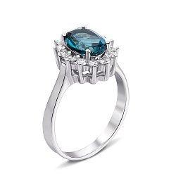 Серебряное кольцо с топазом лондон и фианитами 000132117