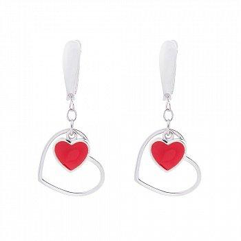 Серебряные серьги-подвески Романтика в Париже с сердцами и красной эмалью 000087994